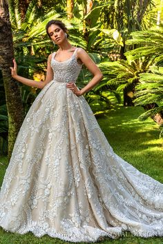 crystal design 2017 bridal sleeveless with strap scoop neckline full embellishment romantic princess ivory color ball gown a  line wedding dress royal train (etolie) mv  -- Crystal Design 2017 Wedding Dresses