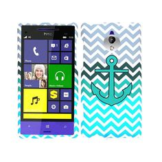 Unlimited Cellular Snap-On Case for HTC 8XT - Green Anchor on Blue/Green Chevron