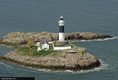 """Rockabill Lighthouse in the Irish Sea, part of Skerries (Irish: Na Sceirí, meaning """"The Rocks"""") a seaside town in Co. Marine Traffic, Lighthouse Lighting, Beacon Of Hope, Lighthouse Keeper, Irish Sea, Rock Island, Seaside Towns, Porch Lighting, Covered Bridges"""