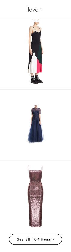 """""""love it"""" by weirdkidos ❤ liked on Polyvore featuring dresses, sleeveless colorblock dress, sleeveless pleated dress, knit dress, v neck cami, proenza schouler dress, gowns, navy, lace evening gowns and navy blue ball gown"""