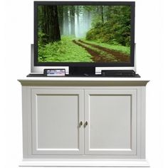 seaford white motorized tv lift cabinet