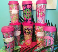 Lilly Pulitzer Monogrammed Coffee Mug by ThePinkPineappleShop on Etsy https://www.etsy.com/listing/169919400/lilly-pulitzer-monogrammed-coffee-mug