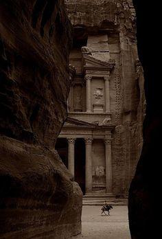 View of al-Khazneh just before exiting al-Siq; Petra, Jordan