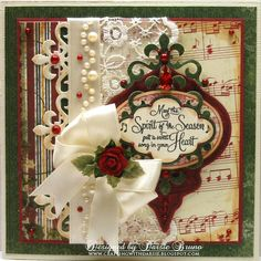Beautiful Christmas Card...with lace, satin bow, & a rose...Crafting with Darsie.