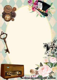 FREE Alice in wonderland invite Baby Shower – Bagvania Alice In Wonderland Printables, Alice In Wonderland Invitations, Alice In Wonderland Tea Party, Free Printable Stationery, Free Printable Birthday Invitations, Baby Shower Invitation Templates, Disney Invitations, Caterpillar Alice In Wonderland, Collage Design