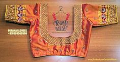 Wedding Saree Blouse Designs, Saree Wedding, Orange Blouse, Blouses, Embroidery, Type 3, Kids, Baby, Facebook