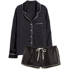 H&M Satin pyjamas (56 ILS) ❤ liked on Polyvore featuring intimates, sleepwear, pajamas, nightwear, comfort, ropa, tops, black, satin pyjamas and long sleeve pyjamas