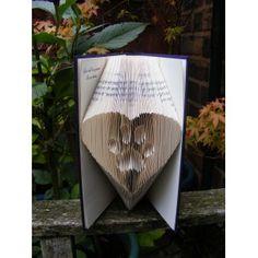 Book sculpture, folded book  art. Book Origami. Dog memorial, dog paw print  in my heart. £17