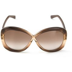 Tom Ford 'Margo' sunglasses featuring polyvore, fashion, accessories, eyewear, sunglasses, brown, tom ford glasses, transparent glasses, see through glasses, gradient sunglasses and tom ford eyewear