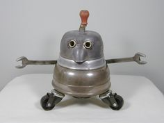 SPEEDO Found Object Robot Sculpture Assemblage Sally Colby