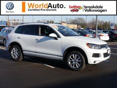 Used 2014 Volkswagen Touareg for sale in Brooklyn Center MN at Luther Brookdale Volkswagen dealer near Minneapolis. Minnesota VW dealership. Used Volkswagen for sale. Used VW SUV for sale in Minnesota. White Volkswagen SUV. 11,876 miles >> Click the photo to learn more about this used SUV for sale in Minnesota.