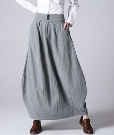 bubble skirt gray linen skirt long skirt linen skirt womens skirt fashion clothing skirt with pockets fitted waisted skirt by xiaolizi Skirts With Pockets, Mini Skirts, Women's Skirts, Jean Skirts, Casual Skirts, Skirt Fashion, Fashion Outfits, Womens Fashion, Modest Fashion