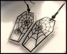 A pair of Spooky Halloween Gothic earrings. Featuring Coffin Shaped Charms with Spider Web detail. ~ Gothic EGL Fashion by - Lolita's Adornments