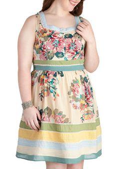 Garden Party Darling Dress in Blue - Plus Size, #ModCloth