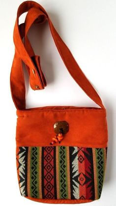 5bef496e74d0 Boho Bag Crossbody Purse Orange Aztec Tapestry Embroidered Hippie Unbranded   Hippie  Crossbody