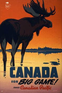 Canada for Big Game! A moose stands before an orange sky in this vintage Canadian travel poster. Circa Illustrated by Peter Ewart. New in Vintage Travel Posters. Vintage Travel Posters, Vintage Postcards, Vintage Images, Vintage Trends, Holiday Postcards, Canadian Pacific Railway, Canadian Travel, Canadian Art, Vintage Canvas