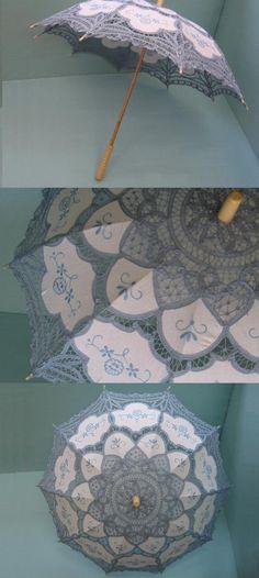 bule handmade belgian lace parasol