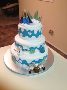 """My very first """"theme"""" cake.  Done with MMF and figures out of gumpaste.  Cake was blue velvet but that part was the only disappointment.  Will NOT use that recipe again! April 2013"""