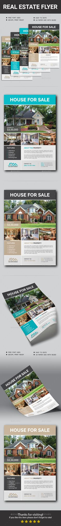 #Real Estate #Flyer - #Corporate Flyers Download here: https://graphicriver.net/item/real-estate-flyer/19457628?ref=alena994