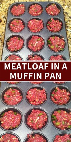 Make meatloaf in a muffin pan- it cooks in 15 minutes! (Thank you Rachel Ray). Then 'frost' them with mashed potatoes- i think this may be dinner tonight Easy Meatloaf Muffins Recipe, Best Easy Meatloaf Recipe, Meatloaf Recipe With Cheese, Beef Meatloaf Recipes, Healthy Meatloaf, Classic Meatloaf Recipe, How To Cook Meatloaf, Meat Loaf Recipe Easy, Beef Recipes