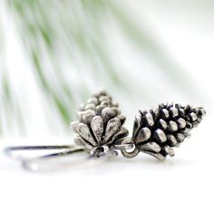 Pinecone Earrings, Winter Jewelry, Pewter.                    by WildWomanJewelry