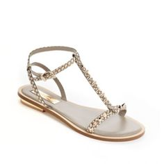 EXCELLENT BCBG Leather Studded Flat Sandals 6.5 BCBG MAX AZRIA T strap flat studded sandals with gold hardware size 6.5 are in excellent condition! Leather snakeskin print in nude, black, brown make these a perfect shoe that will literally go with any outfit! BCBGMaxAzria Shoes Sandals