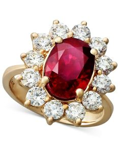 Rosa by Effy 14k Rose Gold Ruby (3-3/4 ct. t.w.) and Diamond (1-3/4 ct. t.w.) Oval Ring from Macy's on Catalog Spree, my personal digital mall.