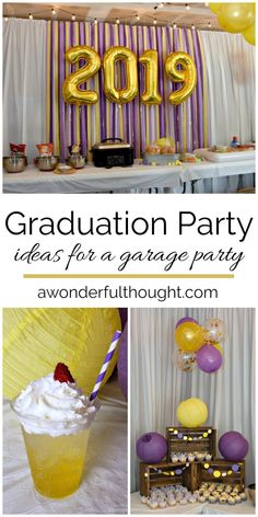 Turn your garage into party central with these fabulous graduation party ideas! Realistically these ideas could work for any themed party! Outdoor Graduation Parties, Graduation Party Foods, Graduation Party Centerpieces, Grad Party Decorations, Graduation Party Planning, College Graduation Parties, Graduation Party Decor, Grad Parties, Graduation Ideas