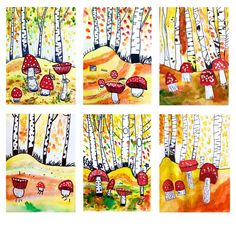 fall art projects for kids schule aesthetic - Art Lessons Elementary, Art Lessons For Kids, Art For Kids, Crafts For Kids, Arts And Crafts, Fall Art Projects, School Art Projects, Middle School Art, Art School