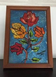 Rose Bouquet Glass Painting
