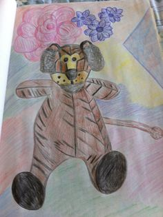 The Lion Stuff Animal  Colored Pencil Drawing  By Creative Artistry by Christina V Saunders