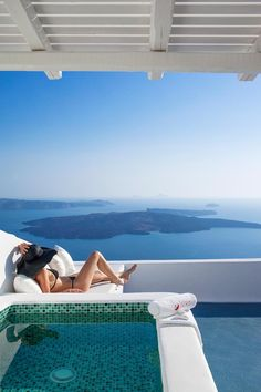 Relaxing in a Santorini Villa