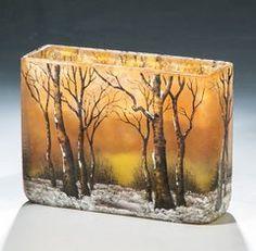 Vierkantvase mit Winterlandschaft Daum Frères, Nancy, um 1902 - European Glass & Studio Glass - Dr. Fischer Auctions, Germany - Auctions of art, glass and antiques