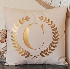 metallic gold monogram pillow