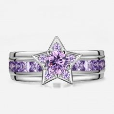 (Processing Time: 30 Working Days)Shining Star Shape  Purple CZ Inlaid 925 Sterling Silver Engagement Ring