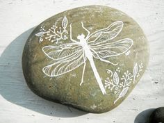 dragonfly painted river rock