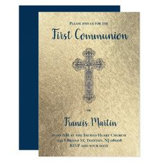 First communion SIMULATED gold foil Invitation   Zazzle.com