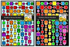 Jazz up your products with our colourful Rainbow Boxes Borders! 32 different PNG file borders are included in this set! Once downloaded, clip art can be used for personal or commercial purposes. Kindly remember to include a link back to our TPT store: http://www.teacherspayteachers.com/Store/2-Smart-Chicks Happy creating!Squares not your thing?