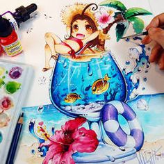 Nashi Special Ibizia Splash by Naschi on DeviantArt Hope you like my finished version of little baby Charmander in his special Flame Fire cocktail drink There is no liquid in it ^_________^ Hugs Nashi Tools: Dr. Anime Chibi, Kawaii Chibi, Anime Kawaii, Anime Art, Beautiful Drawings, Cute Drawings, Geeks, Marker Art, Manga Drawing