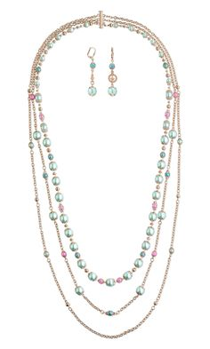 Jewelry Design - Triple-Strand Necklace and Earring Set with Celestial Crystal® Beads, Czech Pearl-Coated Glass Druk Beads and Rose Gold-Plated Brass Components - Fire Mountain Gems and Beads