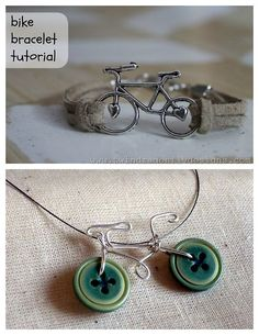 DIY 2 Bike Charm Bracelets. I'm posting this as a reminder of how easy it is to make use a favorite charm into a bracelet or necklace. Charity and craft fairs ar