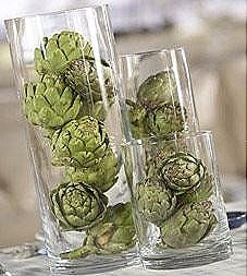 Artichokes in clear vases!