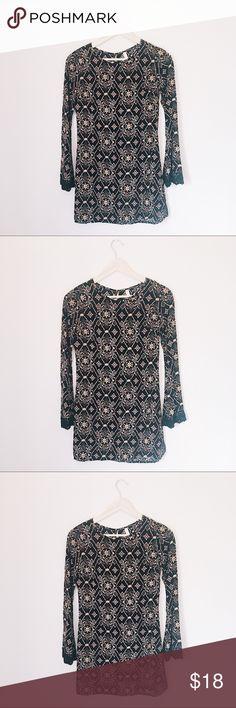XHILARATION BOHO GYPSY BELL SLEEVE DRESS BUST: 16 inches. LENGTH: 32 inches. Xhilaration Dresses