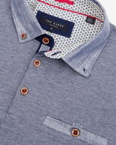 Linen trim polo - Dark Blue | Tops & T-shirts | Ted Baker UK www.MadamPaloozaEmporium.com www.facebook.com/MadamPalooza