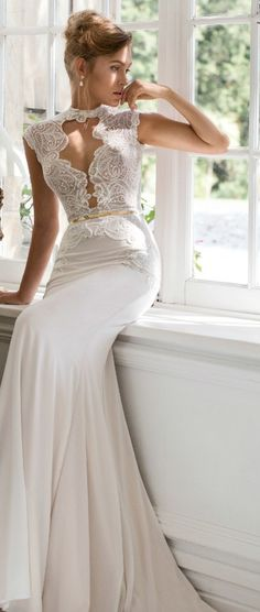 julie vino #bridal 2015 fall provence grace cap sleeve sheath wedding dress keyhole bodice high neckline #weddingdress #weddings