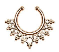 Rose Gold Plated Lacey Edge Fake Septum Piercing