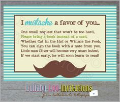 Mustache Baby Shower Inserts asking for books not cards!!!!! THIS IS IT!!!!!! YAY!!!!! :)