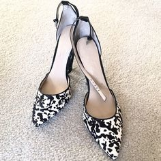 MARC FISHER Ankle Strap Pumps ONLY WORN ONCE - ankle strap pumps by Marc Fisher. Near perfect condition. Front patterned part of shoe is pony hair fabric. The rest is leather. Marc Fisher Shoes Heels