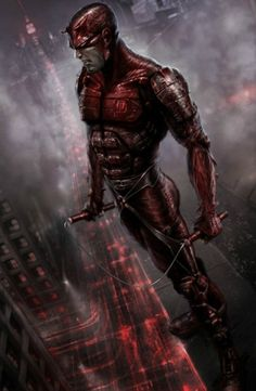 Here's a piece of concept art for a potential Daredevil video game. The Daredevil character is the main feature of this piece, with a mysterious, futuristic city backdrop, shrouded in mist and fog, producing a sinister, dark, curious atmosphere.