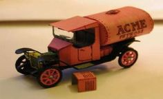 A Mini Аcme Oil Truck Free Vehicle Paper Model Download